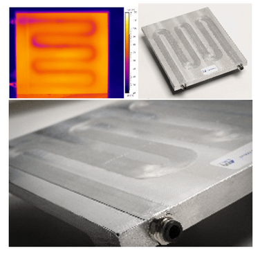 Figure 1. Cooling plate demonstrator produced by CoreFlow™ with an infrared thermal image of liquid coolant circulating through the heated plate demonstrator