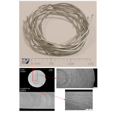 Figure 6. Spool of wire as by-product of CoreFlow with its cross and longitudinal sections