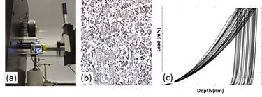 Figure 1 (a) Nano-indentation equipment at TWI; (b) typical heterogeneous microstructure of a multi-phase structural steel; (C) nanoindentation load-depth measurements on a heterogeneous microstructure