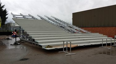One of the sections of decking to be installed in the Olympic Stadium