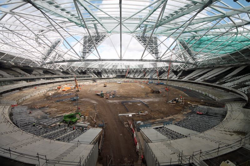 The decks being installed as part of the Olympic Stadium transformation project