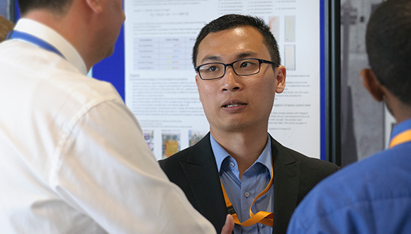 Faris Nafiah is presenting his research poster at the NSIRC 2019 Annual Conference. Photo: TWI Ltd