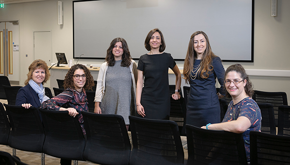 Farnoosh (centre) and her fellow members of the The Tipper Group Committee. The Tipper Group encourages diversity into engineering and science, by providing inspirational talks and support. Based at TWI Ltd. Photo: NSIRC / TWI Ltd