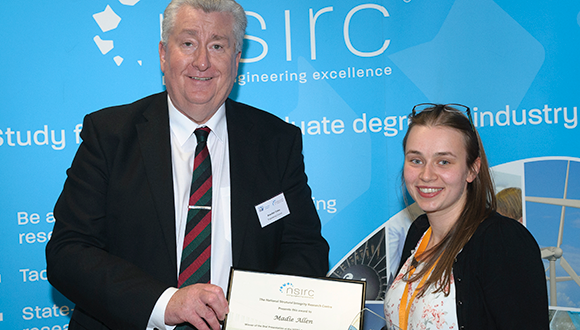 Madie was presented with her NSIRC 2019 Annual Conference award by Alasdair Coates, CEO of the Engineering Council. Photograph: NSIRC / TWI Ltd