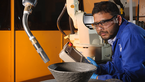 Karan Derekar, NSIRC and Coventry University PhD researcher, now TWI Project Leader, specialising in additive manufacturing of aluminium alloy. Karan's research was supported by Lloyd's Register Foundation. Photo: TWI Ltd