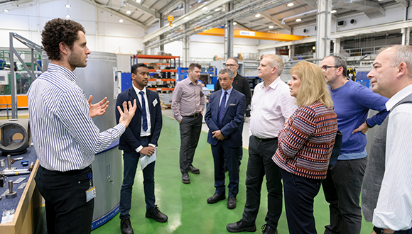 Pedro presented the Refill Friction Stir Spot Welding (RFSSW) facility at TWI, to senior academic from Coventry University. Photo: TWI Ltd