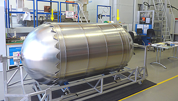 Figure 5: Electron beam welding installation used to join the bipropellant tank for Orion's European Service Module. Detail of end skirt lugs to satellite propellant tanks (courtesy of Airbus UK)