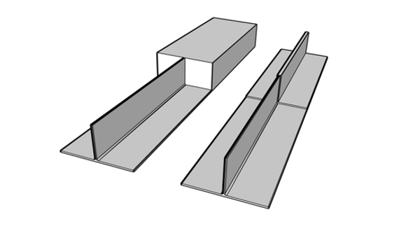 Figure 1. Illustration of titanium T-joint machined from a solid block (left) or machined from a near net shape component fabricated from base and leg plates using SS-FSW (right)