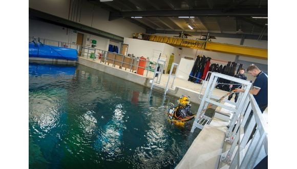 Water resistance testing at TWI North East's 7m dive tank facility