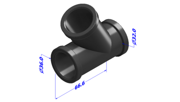 Figure 1. 3D CAD representation of Y-shaped pipe