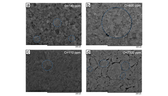 Figure 3. SEM backscattered micrographs of as-HIPed AGA (a); NGA (b); PA (c); WA(d); (PPBs highlighted in blue)