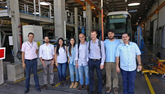 TWI Project Leader Dr Jeroen De Backer with the project partners on a site visit to the maintenance facility of Metro De Medellín.