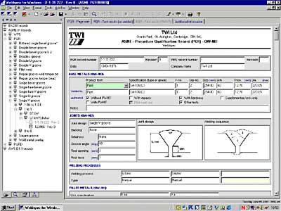Screen view of the Weld spec software program