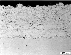 Fig. 6. Ni alloy 625 coating prepared using the JP system and kerosene fuel (JP11)