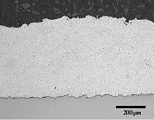 Fig. 3. Optical image of a cross section through the Al-12Sn coating prepared using the JP5000 HVOF system