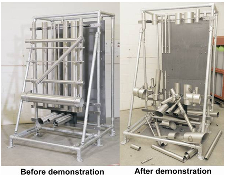 Figure 9. Cutting demonstrator, before and after