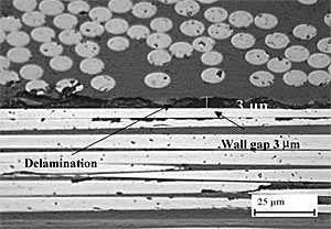 Fig. 9. Delamination damage between two plies (45° (top) and 90°) showing typical measured wall gap in Q-ID-2 (Magnification x1000)