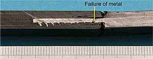 Fig.20. Failed CFRP/Ti test joint, as per data in Figure 19. This joint design failed in the metal
