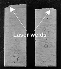Fig. 8. Broken Charpy V-notch specimens of embrittled welds showing no FPD