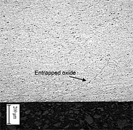 Fig.10. Macrograph of weld t4 containing entrapped oxide