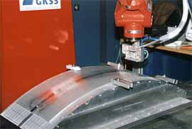 Fig.15. Phased array inspection head on curved weld at GKSS