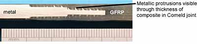 Fig.5. Comeld joint between stainless steel and GFRP (Joint 1 in Table 1)