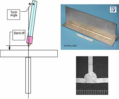 Fig.2. Keyhole plasma welding of a T-joint in thin austenitic stainless steel to give full penetration welds