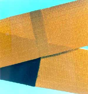 Fig. 4. Continuous overlap welds made using an infrared absorbing medium in the fabric Goretex TM