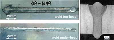 Fig.4. Top and bottom weld bead appearance and cross-section of a fully penetrated hybrid laser-MIG melt run produced in 12.7mm 7xxx aluminium alloy in the PF welding position at the maximum welding speed of0.94m/min