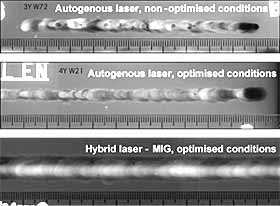 Fig.8. Full penetration melt runs produced in 12.7mm thickness Al-Zn-Mg-Cu aerospace aluminium alloy using the autogenous and hybrid laser-MIG process