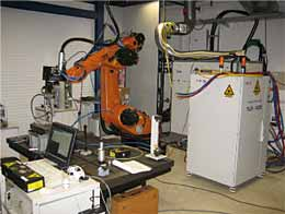 Fig.1. Set-up used for the trials with a YRL-4000 Yb-fibre laser at the IWS facilities (Dresden, Germany)
