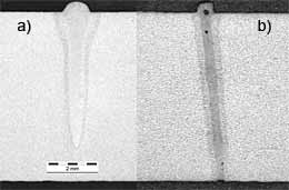 Fig.12. Cross-sections produced in 7mm thickness C-Mn steel at 4kW, a welding speed of 3m/min, using: a) a 5mm.mrad (in-vacuum) electron beam focused in a 370µm focal spot; b) a 2mm.mrad Yb-fibre laser beam focused in a 200µm focal spot.