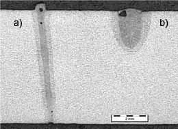 Fig.7. Cross-sections of welds produced using a 2mm.mrad YLR-4000 Yb-fibre laser at 4kW (at the workpiece), a 200µm focal spot and a welding speed of 3m/min: a) with argon side-jet, with argon cross-jets; b) with argon side-jet, without argon cross-jets