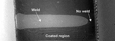 Fig.7. Near infrared image of weld in polycarbonate showing welded and unwelded regions