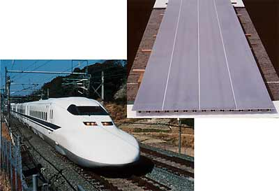 Fig.5. Friction stir welded floor panels produced by Sumitomo Light Metal for the 700 Series Shinkansen operating on the Tokaido Line (Tokyo to Osaka) and Sanyo Line (Osaka to Hakata)