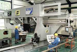 Fig.6. TWI's new friction stir welding machine. This is the largest laboratory FSW machine which can weld industrial prototypes of up to 8 x 5 x 1m with more than 18mm material thickness