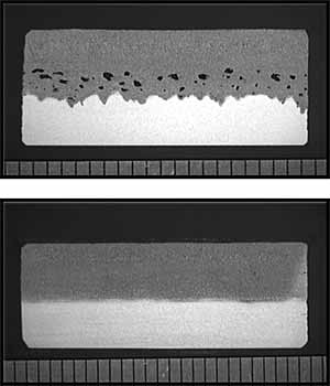 Fig. 6. L-section of CO 2 laser welds with Argon (top) and Helium (bottom) side jets (each unit represents 1mm)