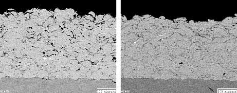 Fig. 9. JP5000 - low oxygen content coating (left), high oxygen content coating (right)