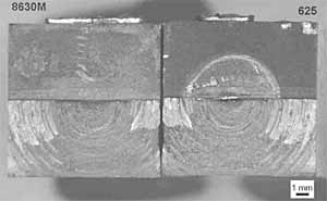 Fig. 12. Fractures faces of a SENB extracted from the friction weld and post weld heat treated 2h at 1250F