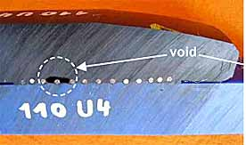 Fig.8. Cross-section of EF joint showing voiding between heating wires
