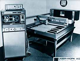 Fig.5. First 2 axis moving optics CO 2 laser cutting machine (1975). Photo courtesy of Laser - Work AG