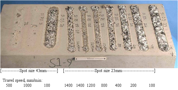 Fig.3. Siliceous aggregate. Laser passes at 4000W on a dry surface