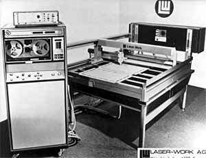 Fig.6. First 2 axis moving optics CO 2 laser cutting machine (1975) Photo courtesy of Laser - Work AG