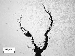 Fig.3a. Detail of the macroscopic intergranular crack about 1.5mm from the fusion line of weld NWA2 (2 pass weld with 20°C IPT and water cooling in high grade steel)