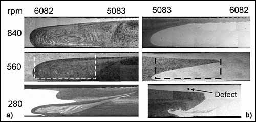 Fig.9. Macrographs showing stir zone/TMAZ of 6082/5083 dissimilar welds with a 6082 on retreating side (left side lighter); b) 6082 on advancing side (right side lighter) for welds made at traverse speed of 200 mm min21 and various rotation speeds (dotted lines on 560 rev min21 welds show approximate size and position of 6 mm dia. pin)53 a) AA6082 on retreating side (left side lighter); b) 6082 on advancing side (right side lighter