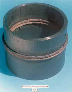 Fig.1. Rotary friction weld in Ti-6Al 4V-0.5Pd pipe