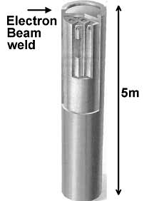 Fig.5. Spent nuclear fuel element containment canister showing position of EB weld ( courtesy of SKB)