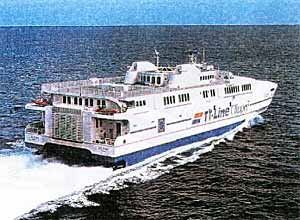 Fig. 2. High speed aluminium ferry containing numerous friction stir welded components.(Hydro Aluminium).