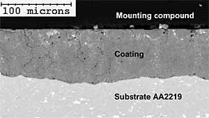 Fig.7. Cross-section of the sealed Keronite coating on AA2219 alloy after 2000 hours of salt spray