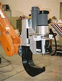 Fig.7. CNC controlled FSSW gun on an articulated arm robot at the company Friction Stir Link in Detroit